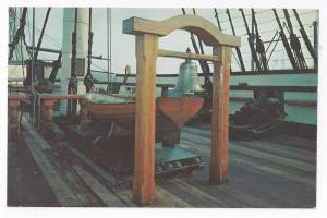 USS Constitution Postcard Deck Bell Lifeboat Charlestown MA