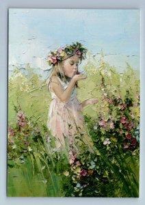 LITTLE GIRL kiss Butterfly Flower Field KID ART by Morozova New Russian Postcard