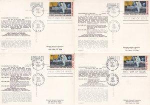Apollo 11 Moon NASA Landing 4x First Day Of Issue Postcard Man On Moon RARE SET