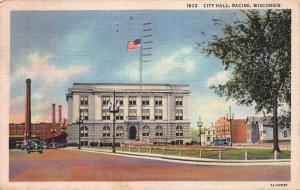 City Hall, Racine, Wisconsin,  Early Postcard, Used in 1938