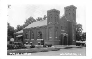 Winchester IL First Baptist Church~Battlements~Stained Glass Windows~RPPC 1960