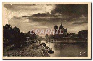 Postcard Old Paris while strolling Crepuscule Notre Dame