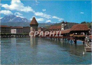 Postcard Modern 547 Luzern mit Pilatus Kapellbrucke