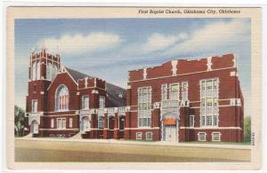 First Baptist Church Oklahoma City OK linen postcard
