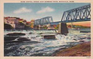 Maine Central Bridge Over Kennebec River Waterville Maine