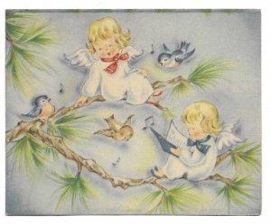 VINTAGE 1940s WWII ERA Christmas Greeting Card Little Angels Blue Birds Brundage