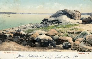 1910 THE ROCKY SHORE CORONA LONG ISLAND NEW YORK TO LENOX MASS ANTIQUE POSTCARD