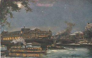 PARIS , France , 1900-10s ; Pont Solferino (at night) ; TUCK 7380