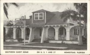 Homestead FL Southern Guest Home Routes 1 & 27 Postcard