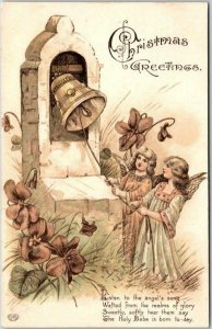 Vintage 1910s CHRISTMAS Greetings Postcard Angel Girls Ringing Bell EAS /Germany
