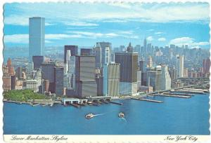 USA, Lower Manhattan Skyline, New York City, 1970s unused Postcard