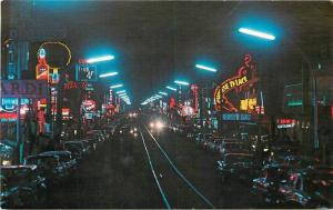 Avenue Juarez De Noche Ciudad Juarez Mexico 1950s Night Neon autos 3567