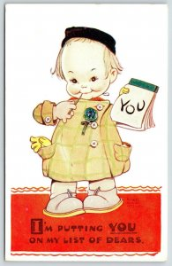 Mabel Lucie Attwell~Litle Pigeon-Toed Girl Chews Pen~You Are On My List of DEARS