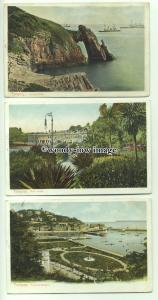 tp9405 - Devon - Three cards of Various Coastal Scenes, in Torquay - Postcard