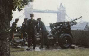 Military Salute at Tower Bridge Royal Postcard