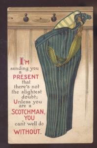 PRESENT SCOTCHMAN PAIR OF PANTS VINTAGE COMIC POSTCARD GLENCOWYOMING
