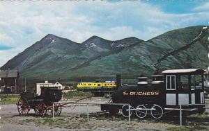Yukon Transportation Old and New, Duchess and the stagecoach on view at Carc...