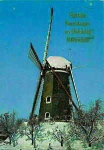 Prettige Kerstdagen Snowy Wind Mill Merry Christmas Happy New Year Postcard