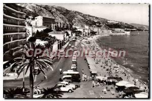 Old Postcard Menton beach and Quai General Leclerc Hautacloque