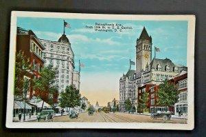 Mint Vintage Washington DC Pennsylvania Ave 12th St To US Capitol 1920s Postcard