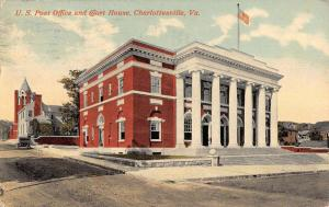 Charlottesville Virginia Post Office Court House Antique Postcard K107466