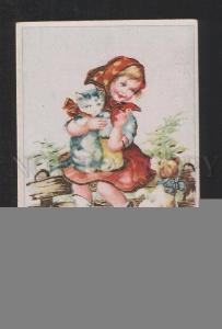 078133 Charming Girl w/ KITTEN & PUPPY vintage Colorful PC