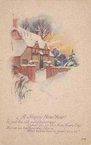A Happy New Year Poem, Snow covered house, PU-1928