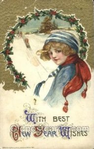 Artist Signed Samuel Schmucker, With Best The New Year Wishes 1911 crease lef...