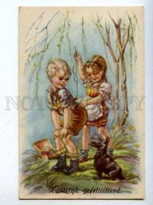 206682 Charming Kids & SCOTTISH TERRIER by CORINA Vintage PC