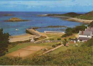 (as79) Channel Islands Herm Approaching White House Hotel & the Harbour Postcard
