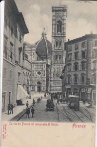 FLORENCE , Italy , PU-1900 ; La via de'Pecori col campanile di Giotto