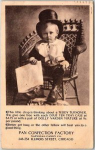 1907 Chicago Ill. Advertising Postcard PAN CONFECTION FACTORY Baby in Top Hat