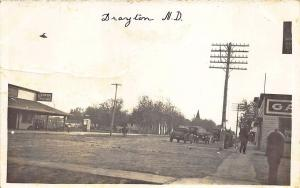 Drayton ND Street Scene Gasoline Cabinet HOME_MADE Real Photo Postcard