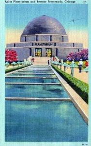Adler Planetarium & Terrazo Promenade Chicago Illinois Vintage Linen Post Card