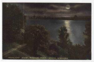 Moonlight on Missouri River Omaha Nebraska 1910c postcard