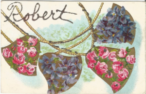 Gold Bell Garland with Pink Roses and Purple Violets Vintage Postcard Robert