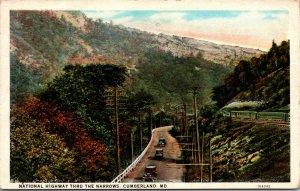 Frostburg Cumberland MD - National Highway THE NARROWS TRAIN RAILROAD Postcard