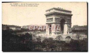 Old Postcard Paris Arc de Triomphe Etoile Entrance of the Avenue de la Grande...