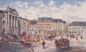 TUCK #7386, Quebec, Champlain Market, Horse-drawn carts, Canada, 00-10s