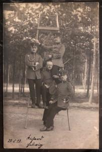 Mint WW 1 Germany RPPC Real Picture Postcard Soldiers On A Stair