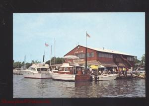 ST. MICHAELS MARYLAND THE CRAB CLAW RESTAURANT 1950's BOATS VINTAGE POSTCARD