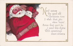 CHRISTMAS;  With Greetings most sincere Rhyme, Santa Claus sneaking around wi...