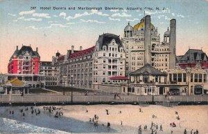 Hotel Dennis and Marlborough Blenheim, Atlantic City, N.J., 1917 postcard, Used
