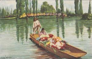 "Colorful Gondola Like Boats Called ""Trajineras"", Xochimilco, Mexico City,..."
