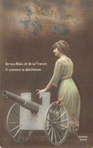 RPPC Allies et de la France Woman & Cannon WWI c1910s Vintage Postcard