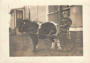 RPPC Boy As Pilot, Pony Cart Jim Armstrong, Colorado c1910s Vintage Postcard