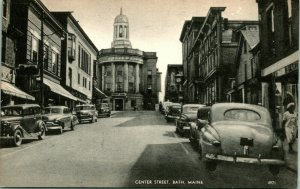 Vtg Postcard Bath Maine ME Photolux Street View Cars Center street Unused UNP