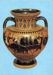 Antiken Sammlung Attische Halsamphora Viergespann zwischen kampfenden Kriegern