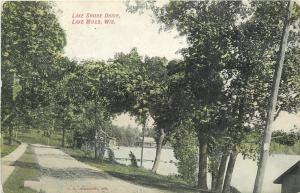 Lake Mills Wisconsin~Lake Shore Drive~Dock~Cabins on Lake~Dirt Road~1907 PC