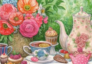 Tea Party Time Cakes Floral Tea CUP & POT Russian Modern Postcard